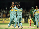 Venkatesh Prasad celebrates after bowling Aamer Sohail, India v Pakistan, World Cup quarter-final, March 1996