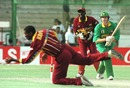 Steve Palframan is caught and bowled by Roger Harper, South Africa v West Indies, World Cup quarter-final, Karachi March, 1996