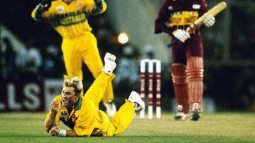 Courtney Browne is caught and bowled by Shane Warne