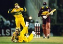 Courtney Browne is caught and bowled by Shane Warne, Australia v West Indies, 2nd semi-final, Mohali, March, 1996