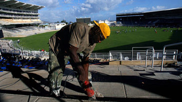Sparks flying already: a workman prepares the seating