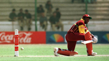 Brian Lara sweeps during his hundred against South Africa in the 1996 World Cup