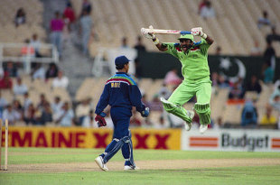 The 1992 World Cup match between India and Pakistan will be remembered for Javed Miandad mimicking Kiran More