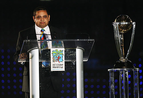 Percy Sonn speaks during the opening ceremony of the World Cup