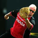 Andy Pick, the Canada coach, dishes out the fielding practise