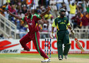 Dwayne Smith sets off in celebration after shifting Mohammad Yousuf, West Indies v Pakistan, Group D, Kingston, 2007 World Cup, March 13, 2007