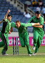 Andrew White and Ireland celebrate tying their thrilling match against Zimbabwe, Ireland v Zimbabwe, World Cup, Group D, Jamaica, March 15, 2007