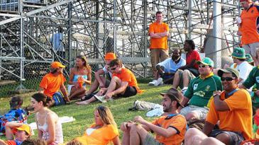 Netherlands supporters relax on the grass embankment