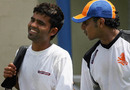 Mohammad Kashif  and Adeel Raja walk in to practice at Warner Park, St Kitts, March 17, 2007
