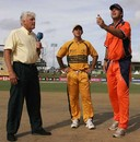 Ricky Ponting and Luuk van Troost at the toss along with Barry Richards, Australia v Netherlands, Group A, St Kitts, March 18, 2007