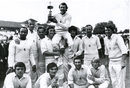 Bob Woolmer and Graham Johnson lift Mike Denness aloft after Kent's victory in the 1974 Gillette Cup final, Kent v Lancashire, Lord's, September 5, 1974
