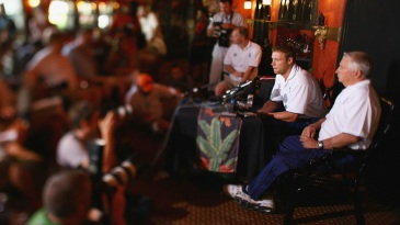 Duncan Fletcher and Andrew Flintoff face the media after Flintoff was dropped and stripped of the vice-captaincy