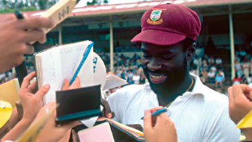 Franklyn Stephenson signs autographs during the West Indies rebel tour of South Africa