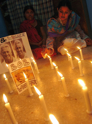 A Pakistan fan lights candles in memory of Bob Woolmer in the days after his death