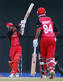 John Davison clatters another four in his brilliant fifty, Canada v New Zealand, St Lucia, March 22, 2007