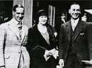 Jack Hobbs (right), his wife, and Herbert Sutcliffe, his famous opening partner, pictured before boarding the boat-train for India in 1930