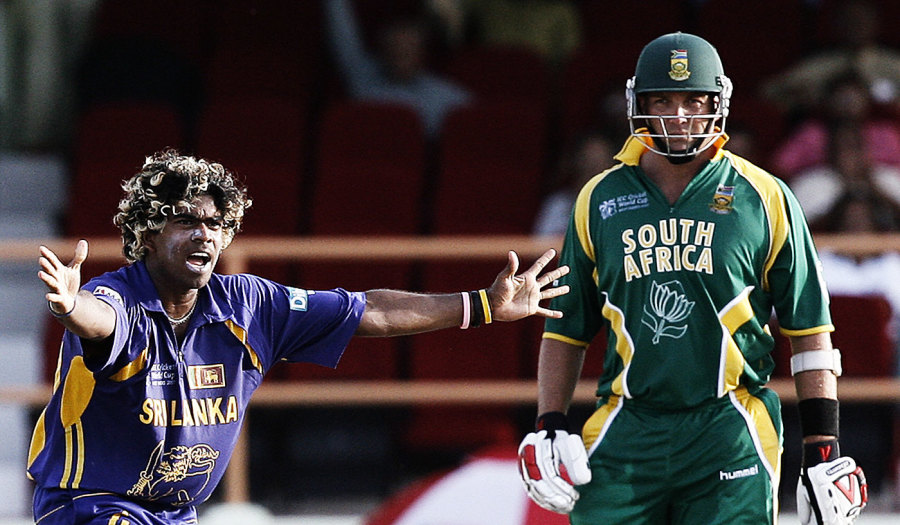 Jacques Kallis is Lasith Malinga's third victim in his four off four balls spell