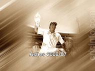 Shane Warne with the Ashes Trophy