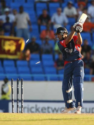Ravi Bopara was bowled off the final ball as England lost to Sri Lanka by two runs