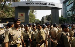 The thick security cordon outside the Wankhede Stadium, Mumbai, April 6, 2007