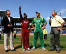 Match referee Chris Broad (extreme left) and television commentator Tony Cozier with captains Brian Lara and Graeme Smith at the toss, South Africa v West Indies, Super Eights, Grenada, April 9, 2007