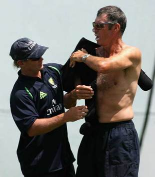 John Buchanan gets some treatment from the Aussie physio, Kensington Oval, Barbados, April 12, 2007