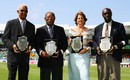 Sir Garfield Sobers, Sir Everton Weekes, Kathryn Ward (daughter of Denis Atkinson) and Denis Depeiaza (son of Clairmonte Depeiaza) receive awards as West Indies cricket record holders