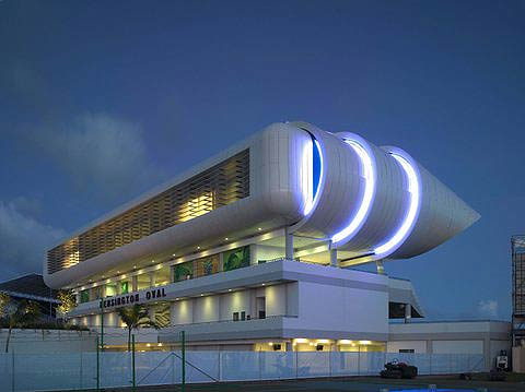 The Kensington Oval lit up in the evening