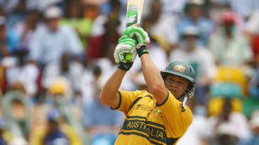 Adam Gilchrist launches a six over long-on