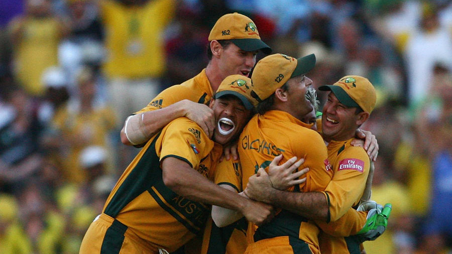 Australia celebrate as their victory is confirmed