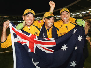 Three in three for Australia: Ricky Ponting, Adam Gilchrist and Matthew Hayden celebrate the win