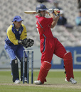 Simon Marshall rocks back and pulls, Lancashire v Warwickshire,  Old Trafford, April 29, 2007