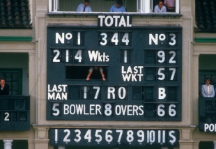The scoreboard tells the story of a remarkable win, England v West Indies, Lord's, July 3, 1984