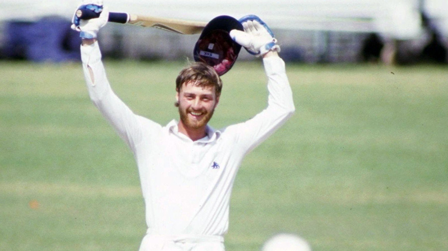 Graeme Fowler celebrates his double hundred
