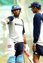 Yuvraj Singh and Ravi Shastri share a word