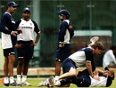 John Gloster gives Yuvraj Singh a leg and more as Ravi Shastri offers some advice