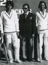 Waheed Mirza (324) and Mansoor Akhtar (224*) pose with Hanif Mohammad after posting a world-record 561 for the first wicket for Karachi Whites against Quetta, February 8, 1977
