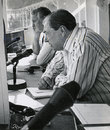John Arlott -alongside Keith Miller-  during his final commentary stint on the last afternoon of the Centenary Match at Lord's, September 2, 1980