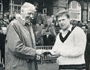 Peter Marner receives the Man-of-the-Match award from Frank Woolley. He was the first man to receive such an award and he got it for making 121 and taking 3 for 49, Lancashire v Leicestershire, Old Trafford, Gillette Cup preliminary round, May 1,1963