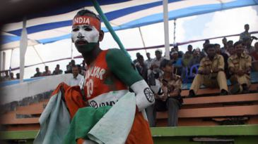 An Indian fan shows his support in no uncertain terms
