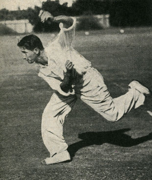 Norman Gordon bowling in the nets at Durban, South Africa v England, 5th Test, Durban, March 8, 1939