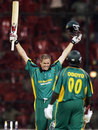 Shaun Pollock is ecstatic on his maiden ODI century with team mate Odoyo, 1st ODI, Afro Asia Cup, Bangalore, June 6, 2007
