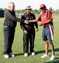Rahul Sharma receives his Man of the Match award from Jeff Brookes and Hameed Shahul - Hong Kong v. Tanzania, Power Park - ICC WCL Div 3 - 02.06.2007