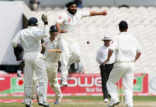 Monty's flying purpose - Panesar celebrates removing Corey Collymore to seal the series