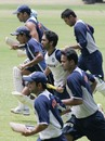 The players go through the grind during the third day of the Batsman training camp at the Chinnaswami Stadium, Bangalore, June 11, 2007