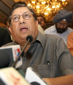 N Srinivasan addresses the media after the BCCI's working committee meeting, New Delhi, June 12, 2007