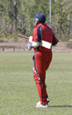 Rahul Sharma goes out to bat for the last time for Hong Kong v. Tanzania, ICC WCL Div 3, Power Park, Darwin - 02.06.2007