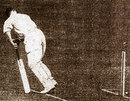 Percy Holmes loses his off stump to Mohammad Nissar, England v India, Lord's, June 25, 1932