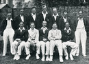 The England XII for the Lord's Test of 1932 against India. Back: Eddie Paynter, Wally Hammond, Bill Voce, Bill Bowes, George Paine (12th man),  Les Ames, Percy Holmes: Front: Herbert Sutcliffe, Walter Robins,  Douglas Jardine (captain), Freddie Brown,  Frank Woolley, June 25, 1932