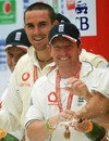 Kevin Pietersen of England and Paul Collingwood celebrate victory after day five of the Fourth Test match between England and the West Indies at the Riverside Ground on June 19, 2007 in Chester-le-Street, Durham, England